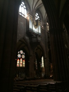 Inside the Munster, one of four organs and many more panels of stained glass